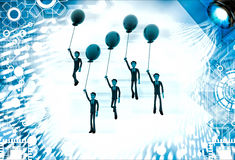 3d group of men flying with single colored balloon illustration Royalty Free Stock Photos