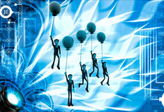 3d group of men flying with single colored balloon illustration Stock Photos