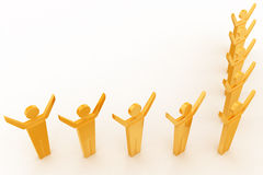 3d group of men standing in arrow and hands up concept Royalty Free Stock Photos