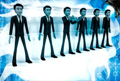 3d group of men standing in line to represent team illustration Royalty Free Stock Images