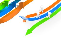 3d group of men walking through different directional arrows con. Cept  , top angle view Royalty Free Stock Photo