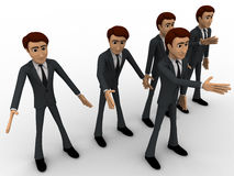 3d group of men walking with leader in front concept Royalty Free Stock Image