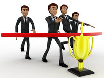 3d group of men walking towards finish line to get award cup concept Stock Images
