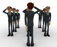 3d group of military men saluting officer concept Stock Photography