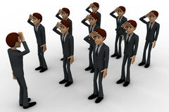 3d group of military men saluting officer concept Royalty Free Stock Photo