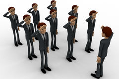 3d group of military men saluting officer concept Royalty Free Stock Image