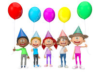 3D group of party kids Royalty Free Stock Images
