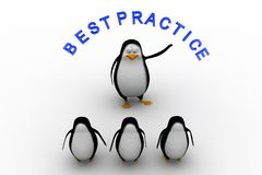 3d group of penguin with best practice text illustration Stock Images