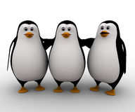 3d group of penguin friends concept Stock Images