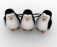 3d group of penguin friends concept Royalty Free Stock Image