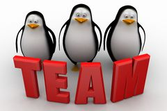 3d group of penguin with team text illustration Royalty Free Stock Images
