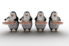 3d group of penguins play drum for celebration or pared concept Royalty Free Stock Photography