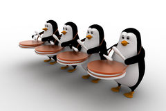 3d group of penguins play drum for celebration or pared concept Stock Photos