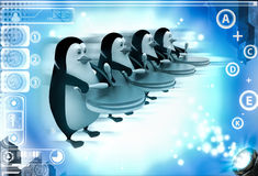 3d group of penguins play drum for celebration or pared illustration Stock Image