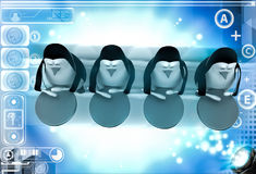 3d group of penguins play drum for celebration or pared illustration Stock Photo