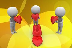 3d group of people holding love illustration Stock Photography
