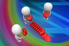 3d group of people holding love illustration Royalty Free Stock Photography