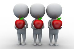 3d group of people man holding apple Royalty Free Stock Photo