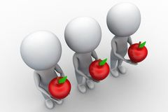 3d group of people man holding apple Royalty Free Stock Images