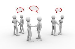3d  group of people meeting and discussion. 3d illustration of group of people with empty speech bubbles discussion and talking.  3d rendering of human people Stock Images