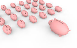 3d group of piggy banks with leader Royalty Free Stock Image