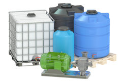 3D Group of plastic water tanks and pumping water Stock Image