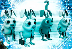 3d group of rabbit and one red rabbit among them illustration Stock Photos