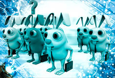 3d group of rabbit and one red rabbit among them illustration Royalty Free Stock Photos