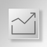 3D grow Button Icon Concept Royalty Free Stock Photography