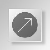 3D grow Button Icon Concept Royalty Free Stock Images