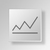 3D grow icon Business Concept. 3D Symbol Gray Square grow icon Business Concept Stock Photography