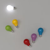 3d growing light bulb standing out. From the unlit incandescent bulbs as leadership concept Stock Photo