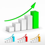 3D Growth bar graph. Vector. Business concept Royalty Free Stock Photo