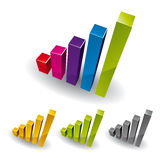 3D Growth bar graph. 3D Growth bar graph, vector icon Stock Image