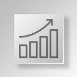 3D growth Button Icon Concept Royalty Free Stock Images