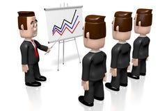 3D businessmen, presentation board - growth chart stock illustration