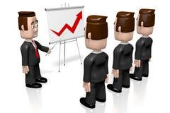 3D businessmen, presentation board - growth chart vector illustration