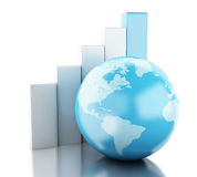 3d Growth chart with globe. Business and economy concept. Royalty Free Stock Photo