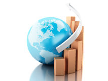 3d Growth chart with globe. Business and economy concept. Royalty Free Stock Photos