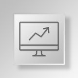 3D growth computer icon Business Concept Royalty Free Stock Image