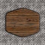 3D grunge houten teken op een metaalachtergrond Stock Afbeeldingen
