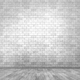 3D grunge room interior with brick wall and wooden floor Stock Photos