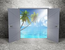 3D grunge room interior with open door looking out to a tropical. 3D render of a grunge room interior with open door looking out to a tropical landscape Royalty Free Stock Photos