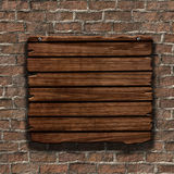 3D grunge wood sign on an old brick wall. 3D render of a grunge wood sign on an old brick wall Stock Images