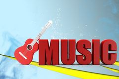 3d guitar music illustration Royalty Free Stock Image