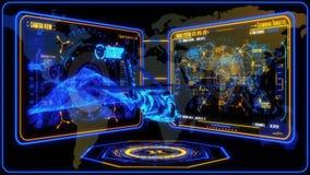 3D gul blå helikopter HUD Interface Motion Graphic Element royaltyfri illustrationer