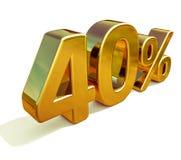 3d guld 40 fyrtio procent rabatttecken Royaltyfria Bilder