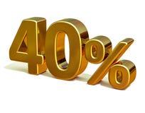 3d guld 40 fyrtio procent rabatttecken Arkivbild
