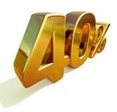 3d guld 40 fyrtio procent rabatttecken Royaltyfri Foto