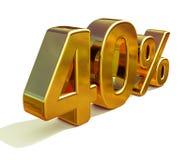 3d guld 40 fyrtio procent rabatttecken Royaltyfri Bild
